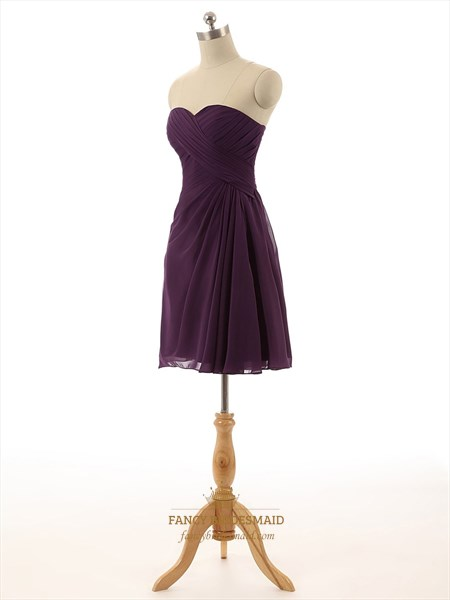 Purple Strapless Pleated A-Line Short Knee Length Bridesmaid Dress