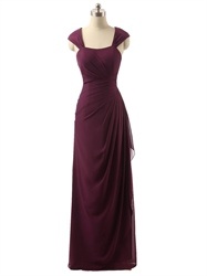 Burgundy Cap Sleeve Crinkle Chiffon Prom Dress With Side Cascade
