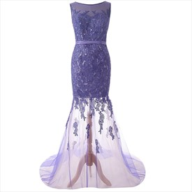 Purple Lace Sleeveless Floral Applique Sheer Mermaid Overlay Prom Dress
