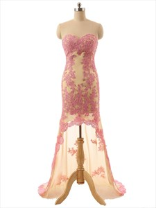 Champagne Strapless High Low Lace Floral Applique Prom Dress With Sheer Train