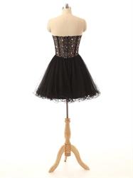 Black Beaded Bodice Illusion Corset Bodice Short Prom Dress