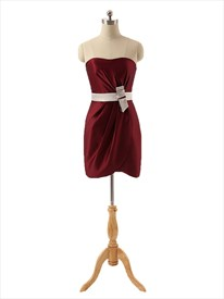 Short Red Satin Sweetheart Neckline Prom Dress With Contrasting Belt