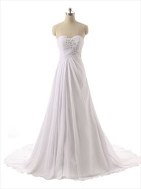 White Strapless Ruched Bodice Sweetheart Neckline Wedding Dress With Train