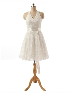 Ivory Knee Length Lace Halter Neck A-Line Dress With Open Back And Bow