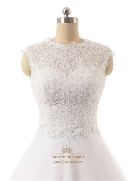 White Lace Bodice Sweetheart Neckline Tea Length Tull Skirt Bridesmaid Dress