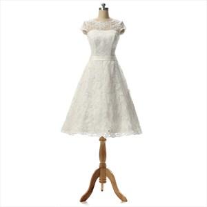 White A Line Knee Length Bowknot Straps Bridesmaid Dresses