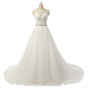 Princess Bateau Sleeveless Beading Court Train Tulle Wedding Dresses