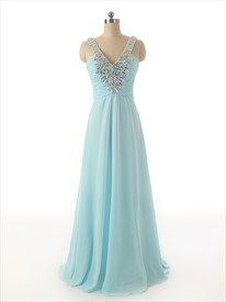 Sky Blue V Neck Sweep Train Chiffon Rhinestone Prom Dress