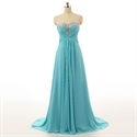 Baby Blue Sweetheart Court Train A Line Chiffon Prom Dresses