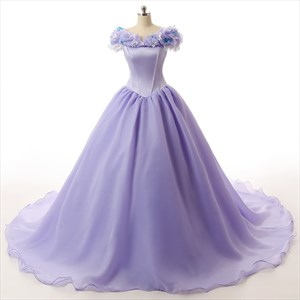 Princess Off-the-shoulder Organza Wedding Dress With Ruffle