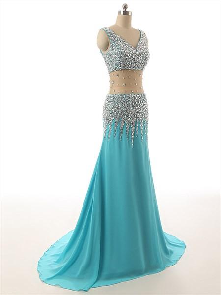 Aqua Blue Chiffon Sheer Illusion Neckline Beaded Bodice Long Prom Dress