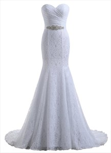 White Strapless Sweetheart Ruched Mermaid Wedding Dress With Lace Overlay