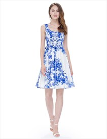 White Floral Print Sleeveless Scoop Neck Fit And Flare Skater Dress