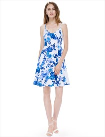 White Spaghetti Strap Sleeveless A-Line Causal Dress With Blue Flower