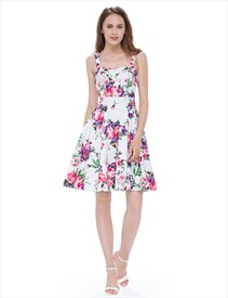 Floral Jacquard Print A-Line Short Fit And Flare Dress With Straps