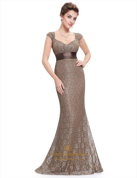 Coffee Mermaid V Neck Lace Overlay Evening Dress Long With Cap Sleeves