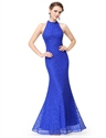 Royal Blue Halter Mermaid Sleeveless Floor Length Evening Dress