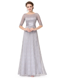 Silver Lace Embellished Half Sleeves Prom Dress With Keyhole Back
