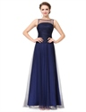 Navy Blue Boat Neck Sheer Ruched Evening Dress With Illusion Bodice