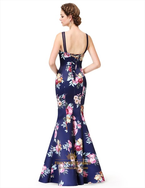 Floral Print Mermaid Evening Dress Open Back Long With Illusion Top