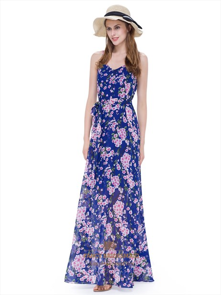 Women'S Floral Spaghetti Strap Floor Length Casual Summer Dresses