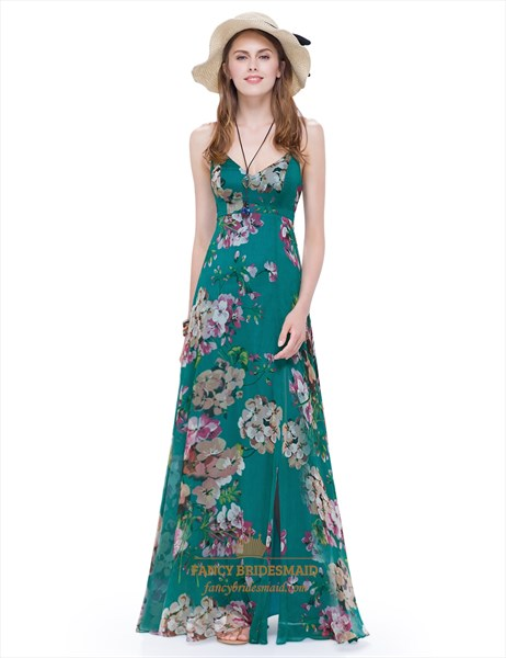 Women'S Spaghetti Strap Long Floral Maxi Dress Side Split With Lace Up