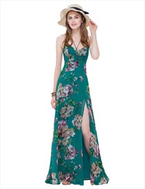 9d4fe37adf Women S Spaghetti Strap Long Floral Maxi Dress Side Split With Lace Up