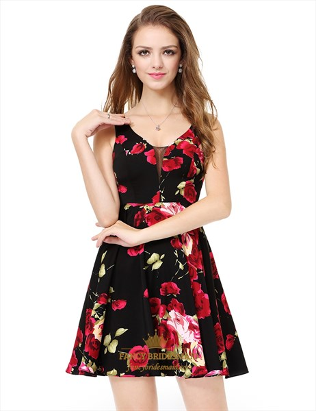 Red And Black Plunging Neck Sleeveless Floral Jacquard Skater Dress