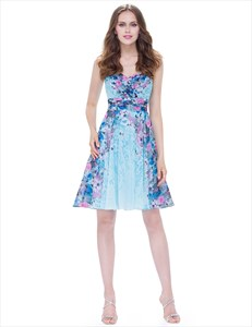Strapless Floral Short Cocktail Dress With Ruched Bodice And Lace Up