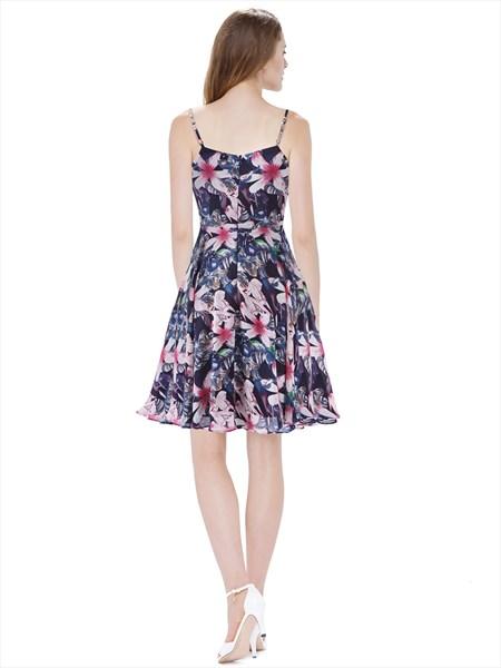 Women'S Floral Print Spaghetti Strap Knee Length Chiffon Summer Dress