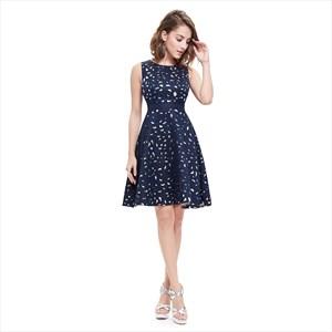 Stylish Navy Blue Round Neck Sleeveless Short Fit And Flare Dresses