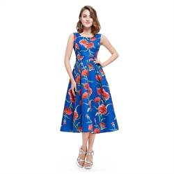 Blue Round Neck Sleeveless Floral Jacquard Fit And Flare Midi Dress