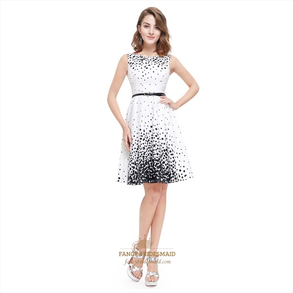 White Sleeveless Embellished Dress With Black Polka Dots For Juniors
