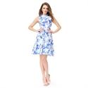 Blue And White Short Sleeveless High Neck Pattern Jacquard Skater Dress