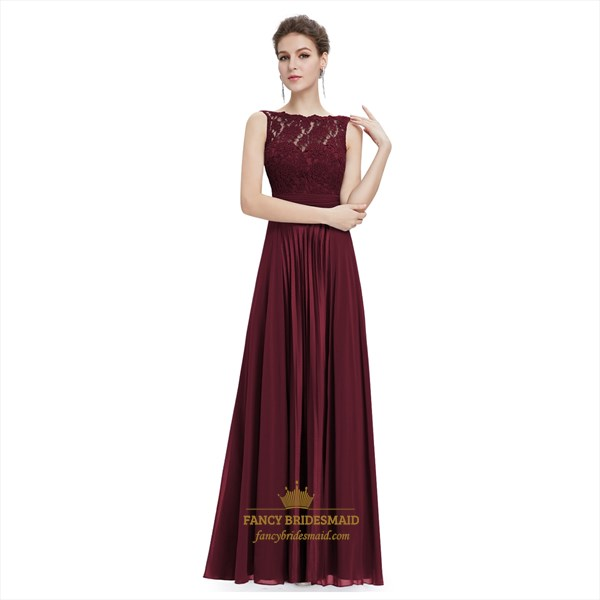 Burgundy Chiffon Sheer Illusion Neckline Lace Bodice Dress With Ruching