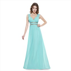 Light Blue V Neck Sheer Pleated Chiffon Prom Dress With Beaded Waist