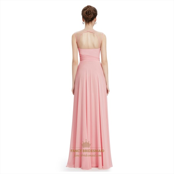 Pink Lace Top Keyhole Back Chiffon Sheer Illusion Neckline Prom Dress