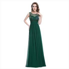 Emerald Green Chiffon Sleeveless Dress With Jewel Embellished Bodice