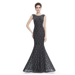 Black Sleeveless Floor Length Mermaid Evening Dress With Lace Overlay