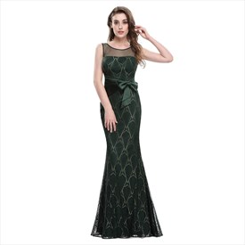 Forest Green Mermaid Lace Embellished Prom Dress With Ruched Waist
