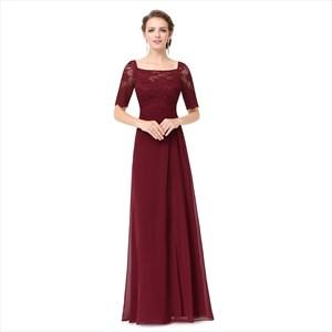 Burgundy Chiffon Lace Bodice Short Sleeves Bridesmaid Dress With Split