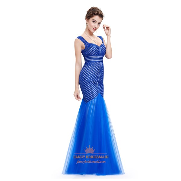 Royal Blue Sweetheart Mermaid Sheer Back Evening Dress With Stripes
