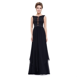 Black Lace Embellished Illusion Bodice Chiffon Evening Dress With Belt