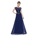 Navy Blue Chiffon Sequin Bodice Cap Sleeves Mother Of The Bride Dress