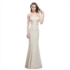 Champagne Mermaid Embroidered Sleeveless Dress With Illusion Bodice