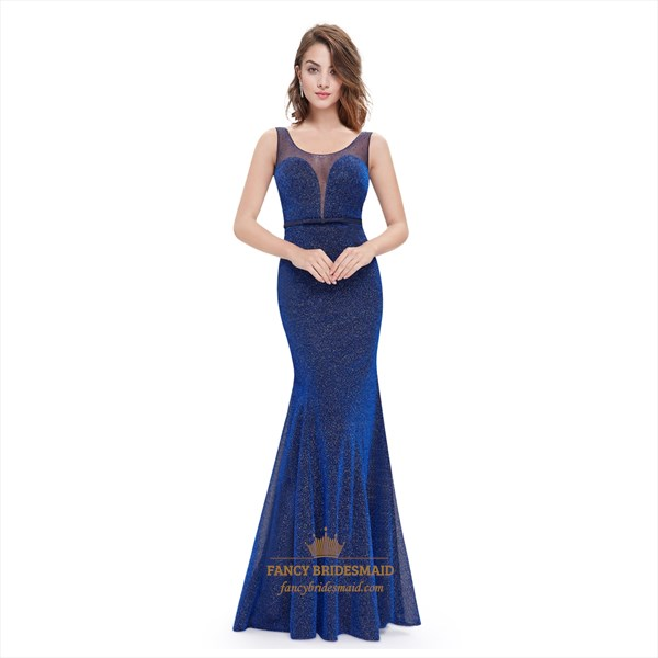 Floor Length Sequin Embellished Mermaid Prom Dress With Plunge Neck