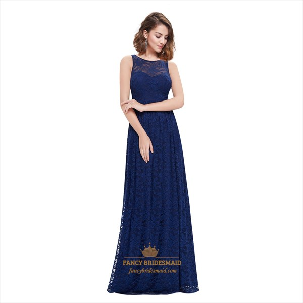 Navy Blue Sweetheart Neckline With Lace Overlay Embellished Prom Dress