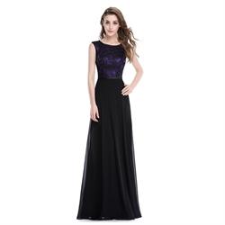 Elegant Long Purple And Black Chiffon Prom Dress With Lace Embellished