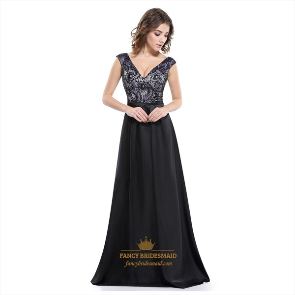 Black V-Neck Sleeveless Floor Length Dress With Lace Illusion Bodice