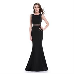 Black Mermaid Floor Length Sleeveless Prom Dress With Illusion Bodice